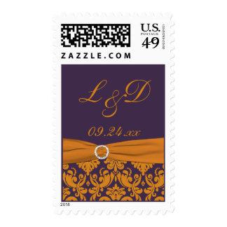 Purple and Orange Damask Monogrammed Postage