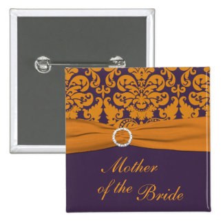 Purple and Orange Damask Mother of the Bride Pin