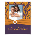 "Purple and Orange Damask Photo Save the Date 4.25"" X 5.5"" Invitation Card"