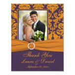 Purple and Orange Damask Photo Thank You Card