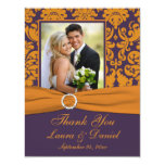 "Purple and Orange Damask Photo Thank You Card 4.25"" X 5.5"" Invitation Card"