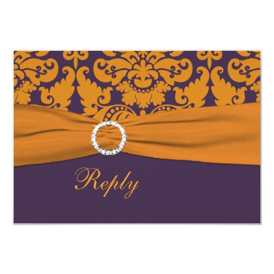 Purple and Orange Damask Reply Card - Small