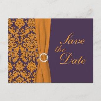 Purple and Orange Damask Save the Date Card postcard