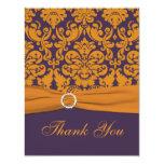 Purple and Orange Damask Thank You Card