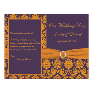 "Purple and Orange Damask Wedding Program 8.5"" X 11"" Flyer"