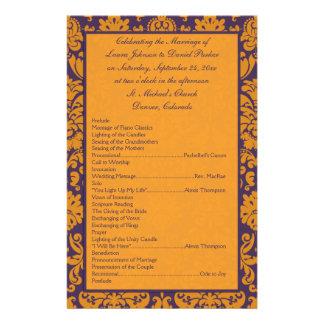 """Purple and Orange Damask Wedding Program II 5.5"""" X 8.5"""" Flyer"""