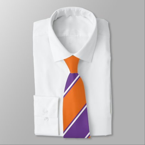 Purple and Orange Diagonally-Striped Tie