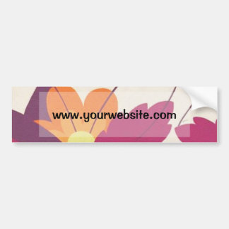 Purple and Orange Floral Pattern Car Bumper Sticker