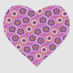 Purple and Orange Floral Pattern Gifts Heart Stickers