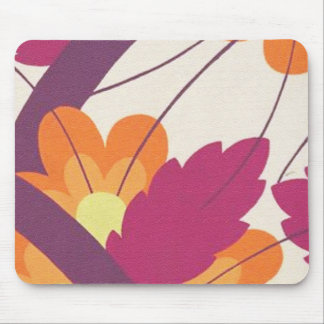 Purple and Orange Floral Pattern Mouse Pad