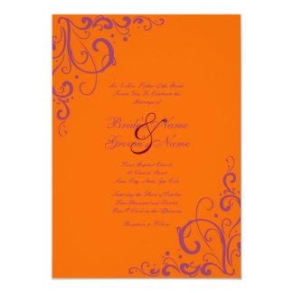 Purple and Orange Flourish Wedding Invitation