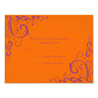 Purple and Orange Flourish Wedding RSVP Card