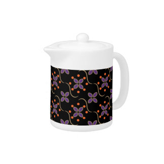 Purple and Orange Flowers and Dots Teapot