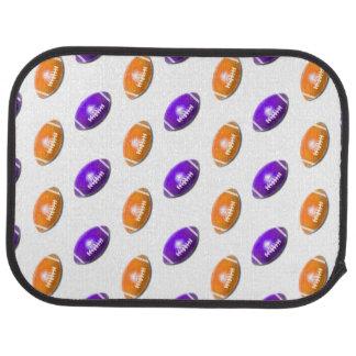 Purple and Orange Football Pattern Car Mat