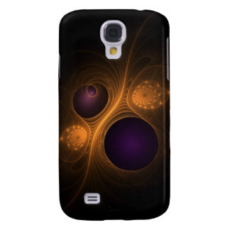 Purple and Orange fractal galaxies Galaxy S4 Cases