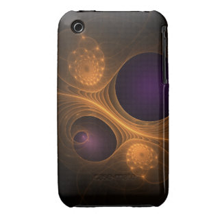 Purple and Orange fractal galaxies iPhone 3 Covers