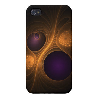 Purple and Orange fractal galaxies Case For iPhone 4
