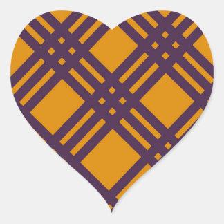Purple and Orange Lattice Heart Sticker