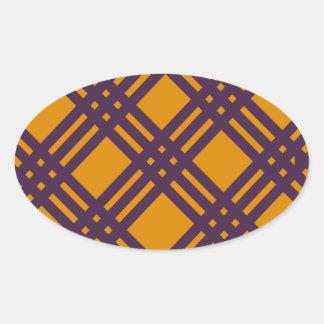 Purple and Orange Lattice Oval Sticker