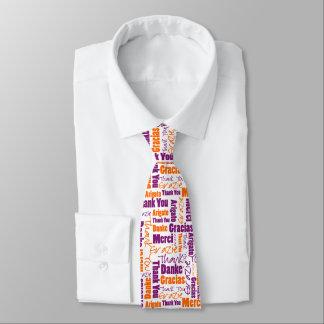 Purple and Orange Multilingual Thank You Neck Tie