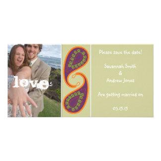 Purple and Orange Paisley Save the Date Your Photo Custom Photo Card