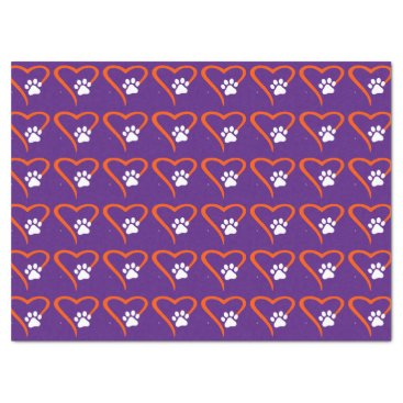Professional Business Purple and Orange Paw Print Heart Tissue Tissue Paper