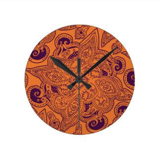 Purple and Orange Persian Mandala Star Pattern Round Clock