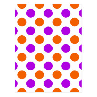Purple and Orange Polka Dots Postcard