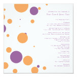 Purple and Orange Polka Dots Wedding Program Custom Announcements