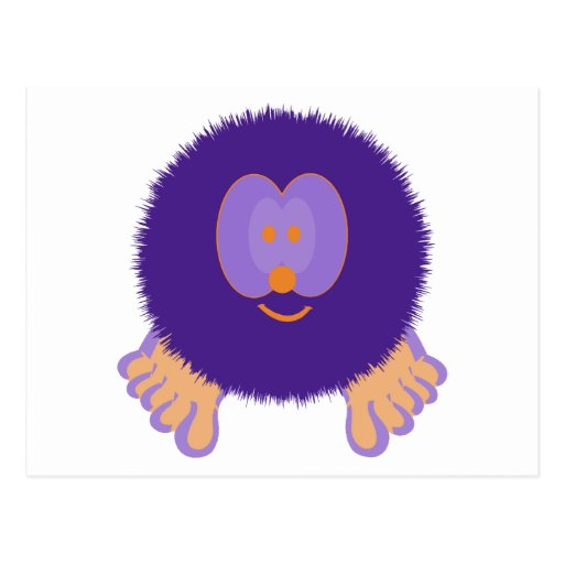 Purple and Orange Pom Pom Pal Postcard