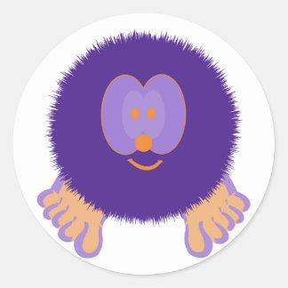 Purple and Orange Pom Pom Pal Stickers