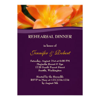 Purple and Orange Rehearsal Dinner Party Personalized Announcement