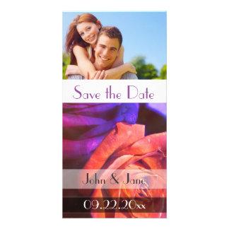 "Purple and Orange Rose /photo  ""Save the Date"" Card"