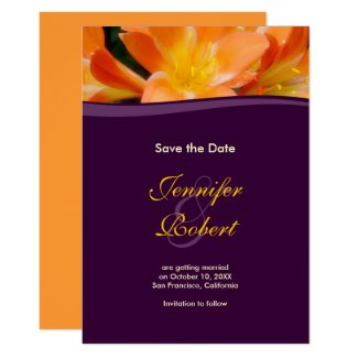 Purple and Orange Save the Date Announcement