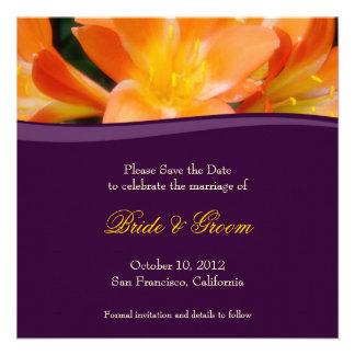 Purple and Orange Save the Date Invitation