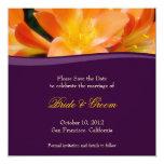 """Purple and Orange Save the Date Invitation 5.25"""" Square Invitation Card"""