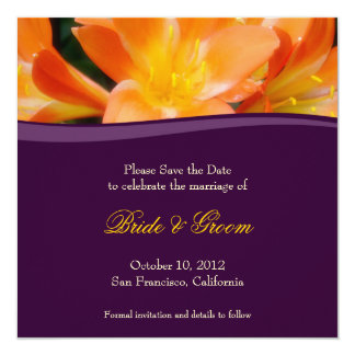 Purple and Orange Save the Date Invitation