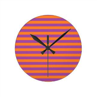 Purple and Orange Stripes Clock