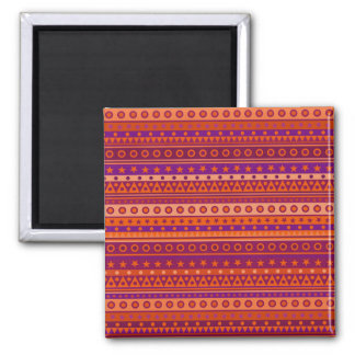 Purple and Orange Stripy Stars and Spots Pattern 2 Inch Square Magnet