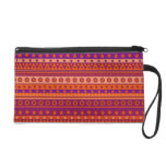 Purple and Orange Stripy Stars and Spots Pattern Wristlet Clutches