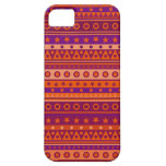 Purple and Orange Stripy Stars and Spots Pattern iPhone 5 Cases