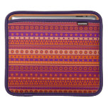 Purple and Orange Stripy Stars and Spots Pattern Sleeves For iPads