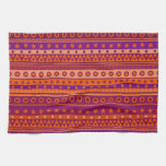 Purple and Orange Stripy Stars and Spots Pattern Towels