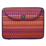 Purple and Orange Stripy Stars and Spots Pattern MacBook Pro Sleeves