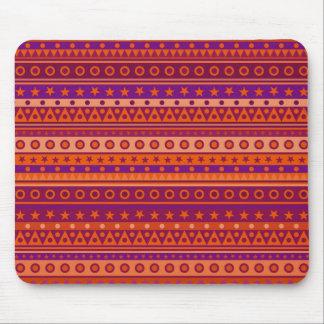 Purple and Orange Stripy Stars and Spots Pattern Mousepads
