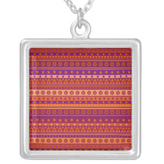 Purple and Orange Stripy Stars and Spots Pattern Pendants