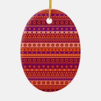 Purple and Orange Stripy Stars and Spots Pattern Ornament