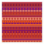 Purple and Orange Stripy Stars and Spots Pattern Photograph