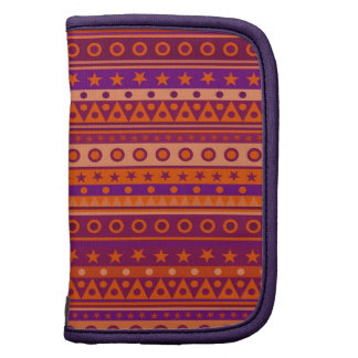 Purple and Orange Stripy Stars and Spots Pattern Organizers