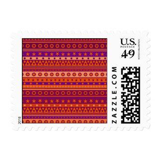 Purple and Orange Stripy Stars and Spots Pattern Postage